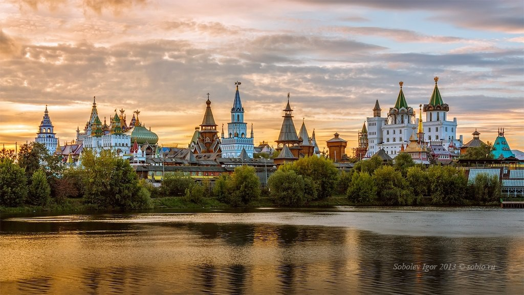 Izmailovo Kremlin in Moscow at sunset