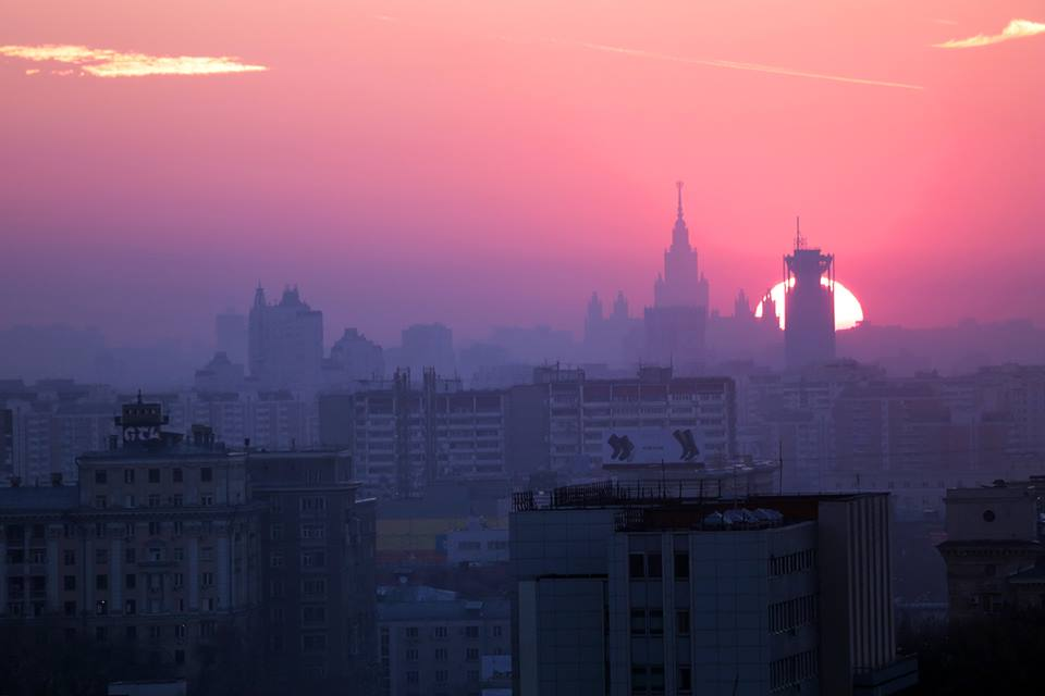 Sunset in Moscow right now