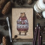 The brown bear in a sweater
