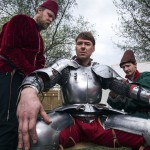 Squires clothe Ruchkina Victor Knight in armor to fight on foot